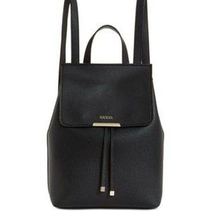 Guess Backpack Purse Black Faux Pebbled Leather
